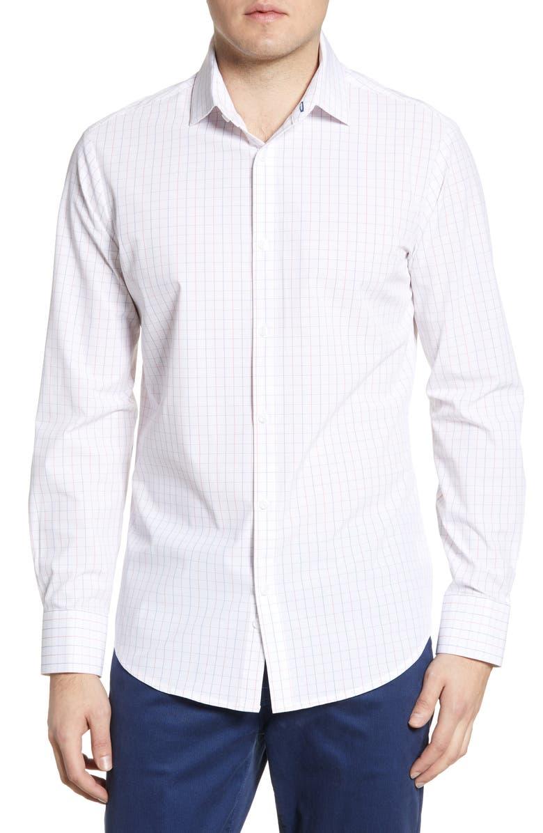 MIZZEN+MAIN Northpark Trim Check Shirt, Main, color, WHITE
