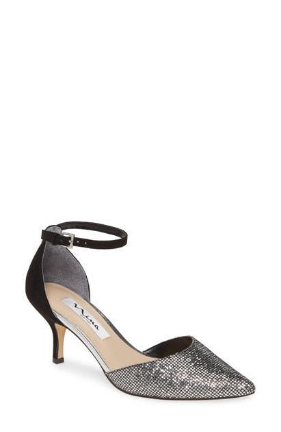 Nina Brenda Ankle Strap Pump In Silver/ Black Fabric