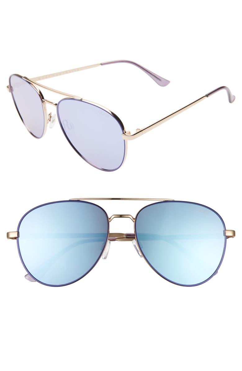 QUAY AUSTRALIA Single 50mm Aviator Sunglasses, Main, color, BLUE/ VIOLET