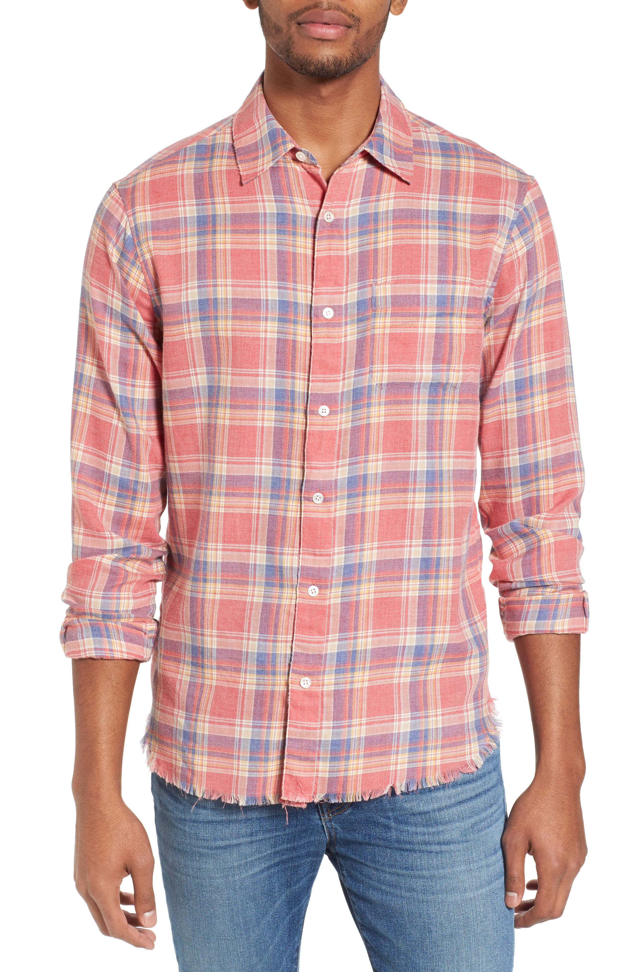 Image of FRAME Fray Hem Plaid Print Slim Fit Flannel Shirt