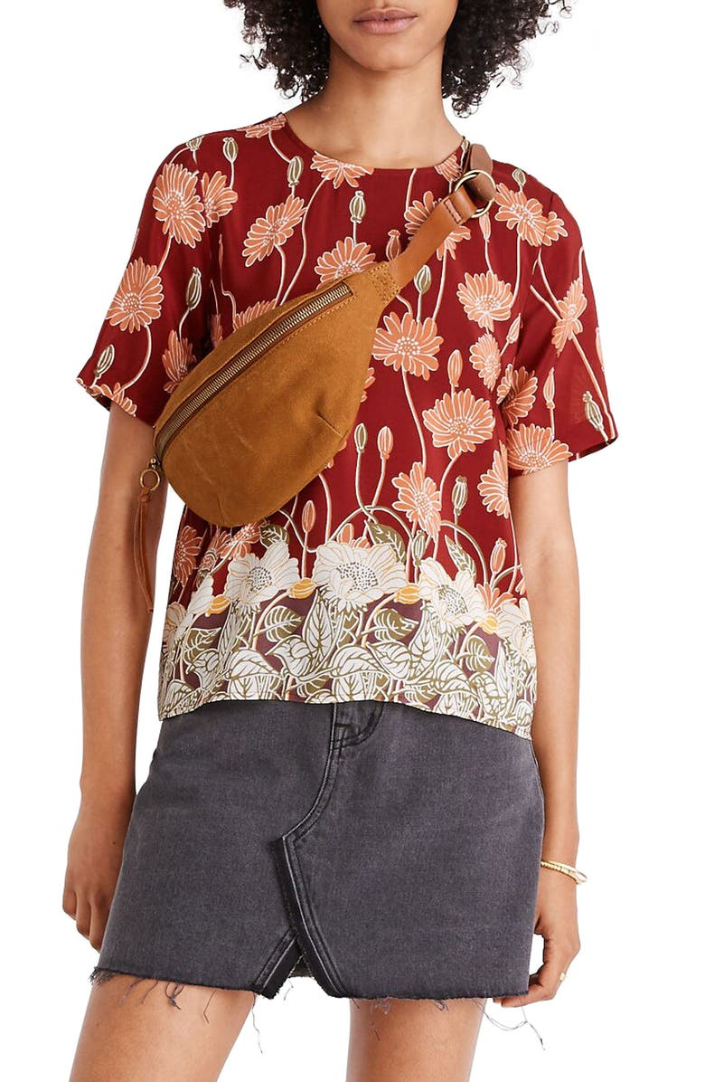 Madewell Silk Button Back Pocket Top