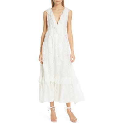 Amur Marilyn Eyelet Silk Dress, White
