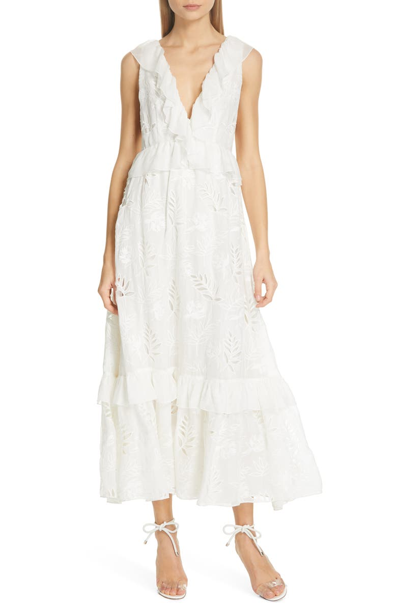 AMUR Marilyn Eyelet Silk Dress, Main, color, WHITE