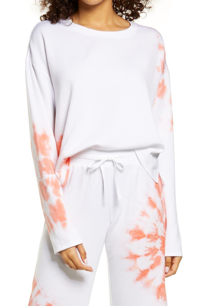 BP. All Weekend Crop Sweatshirt, Main, color, WHITE PLACED TIE DYE