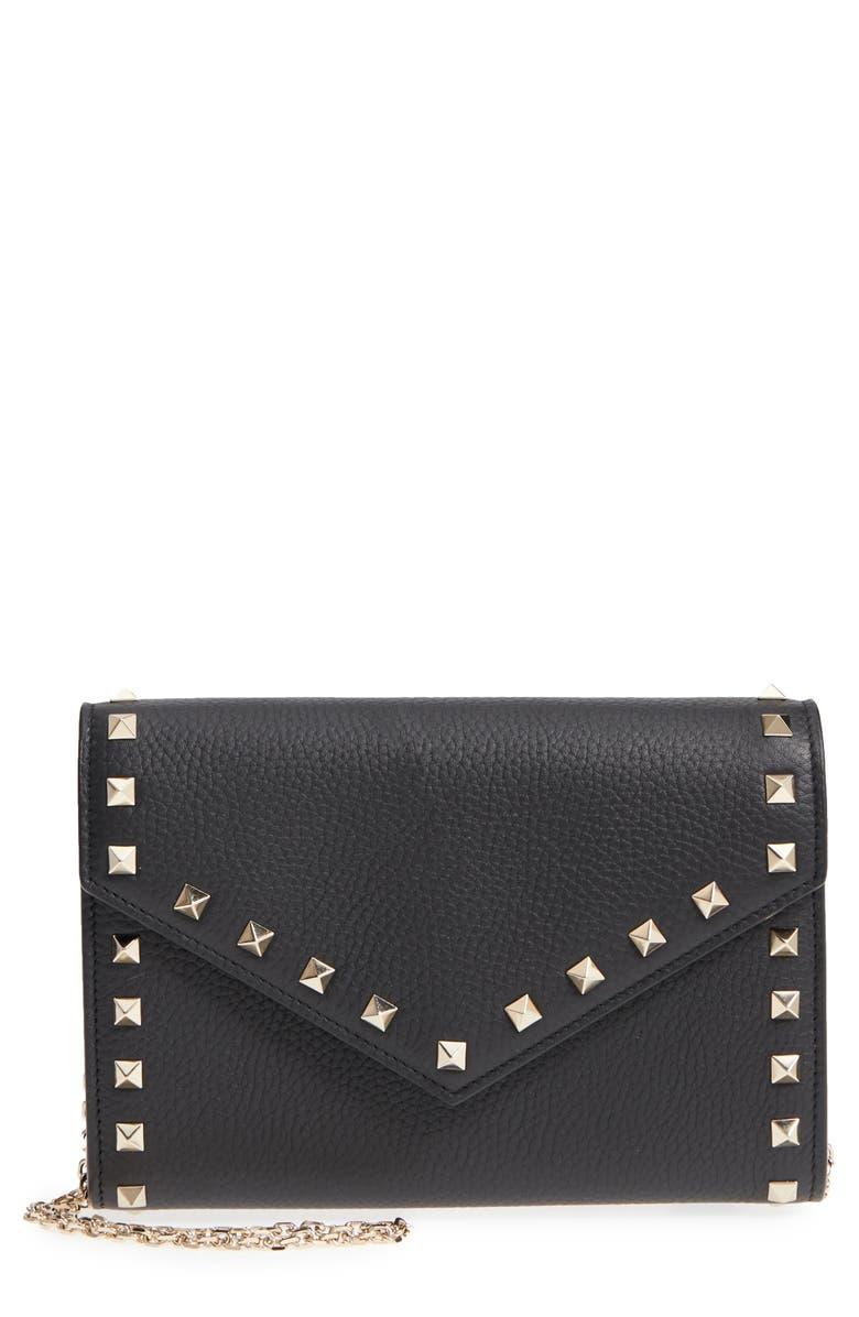 VALENTINO GARAVANI Rocktstud V-Flap Calfskin Leather Wallet on a Chain, Main, color, NERO