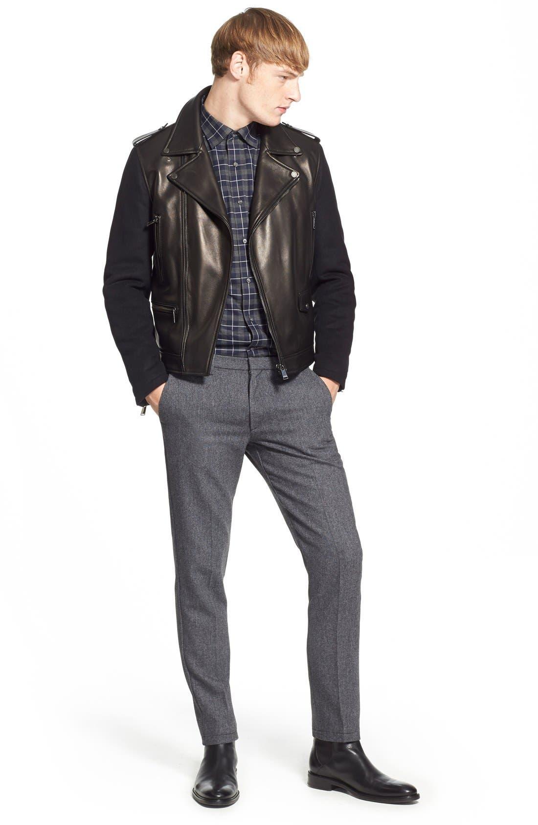 ,                             Melton Sleeve Leather Jacket,                             Alternate thumbnail 2, color,                             001