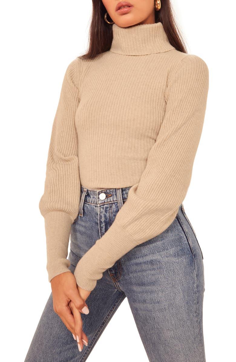 REFORMATION Victoria Turtleneck Sweater, Main, color, SAND