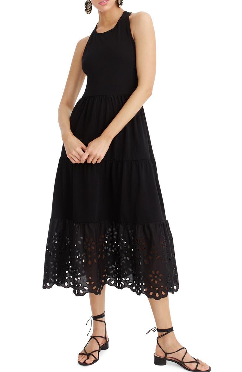 Eyelet Trim Tiered Knit Maxi Dress