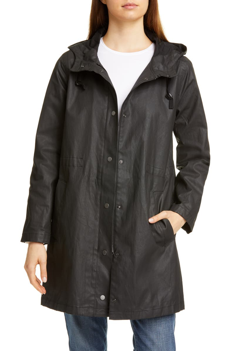 EILEEN FISHER Hooded Coat, Main, color, BLACK