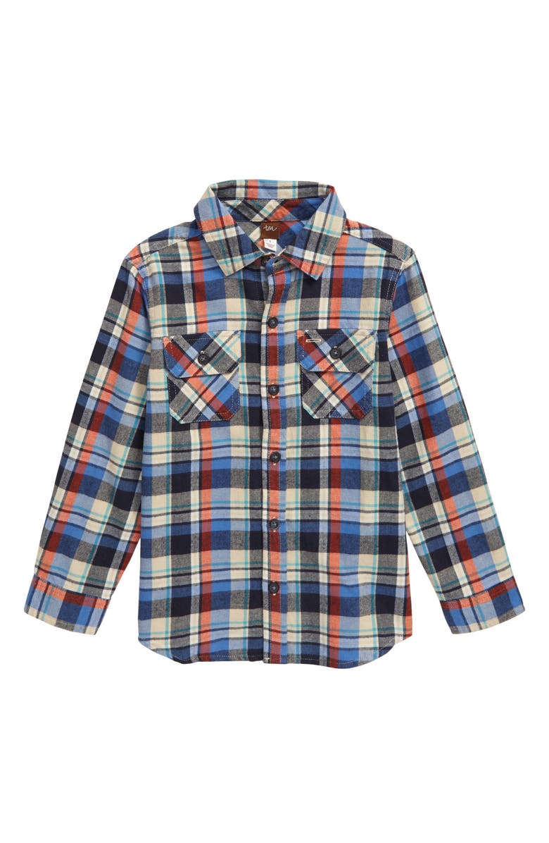TEA COLLECTION Plaid Flannel Shirt, Main, color, TREKKING PLAID