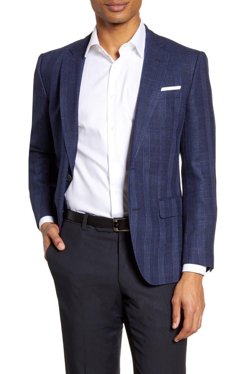 BOSS Hutsons Trim Fit Plaid Sport Coat, Main, color, DARK BLUE