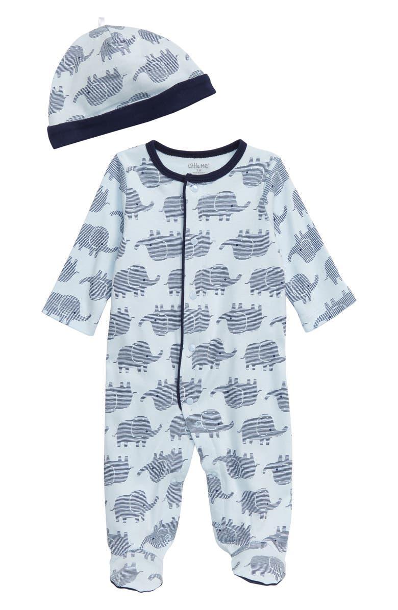 LITTLE ME Elephant Footie & Hat Set, Main, color, BLUE