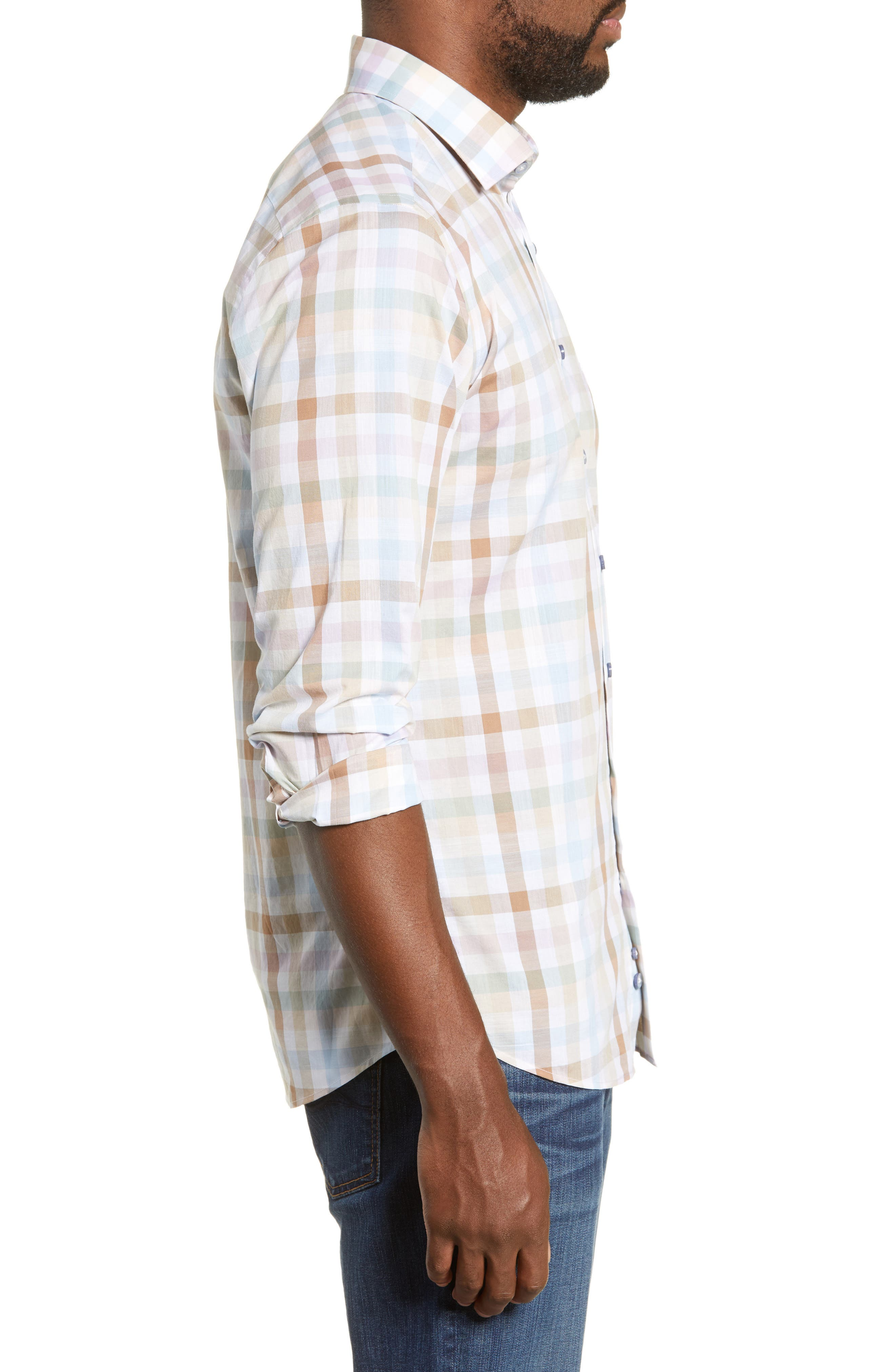,                             Collingwood Regular Fit Check Cotton Sport Shirt,                             Alternate thumbnail 4, color,                             WALNUT