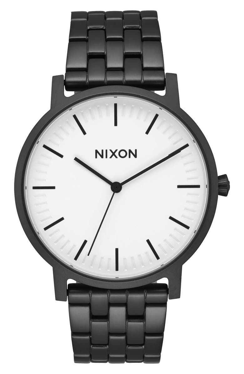 NIXON Porter Bracelet Watch, 40mm, Main, color, MATTE BLACK/ WHITE/ BLACK