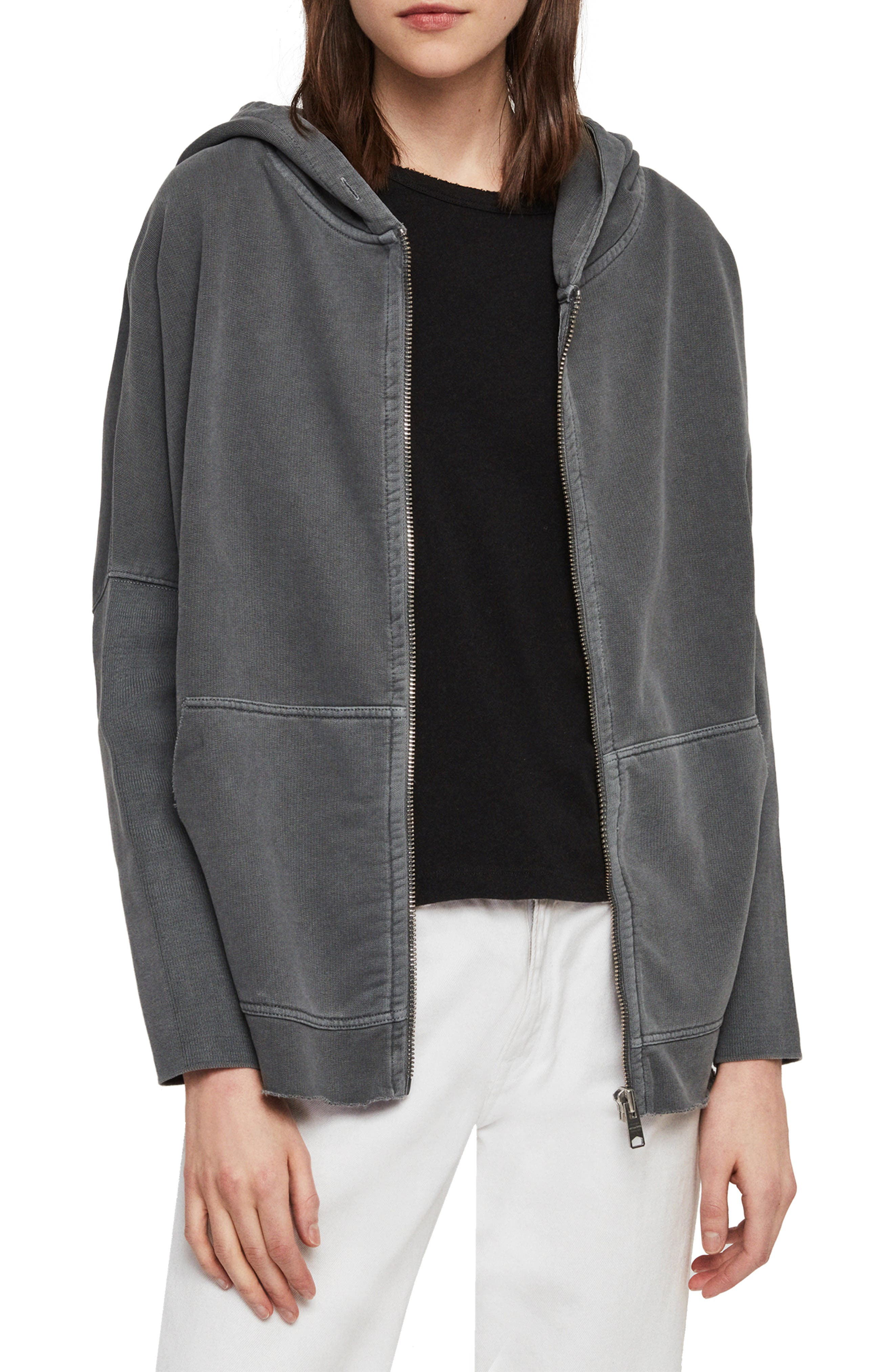 Xonda Zip Hooded Sweatshirt, Main, color, WASHED BLACK