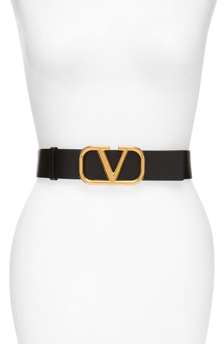 VALENTINO GARAVANI Go Logo Leather Belt, Main, color, 001
