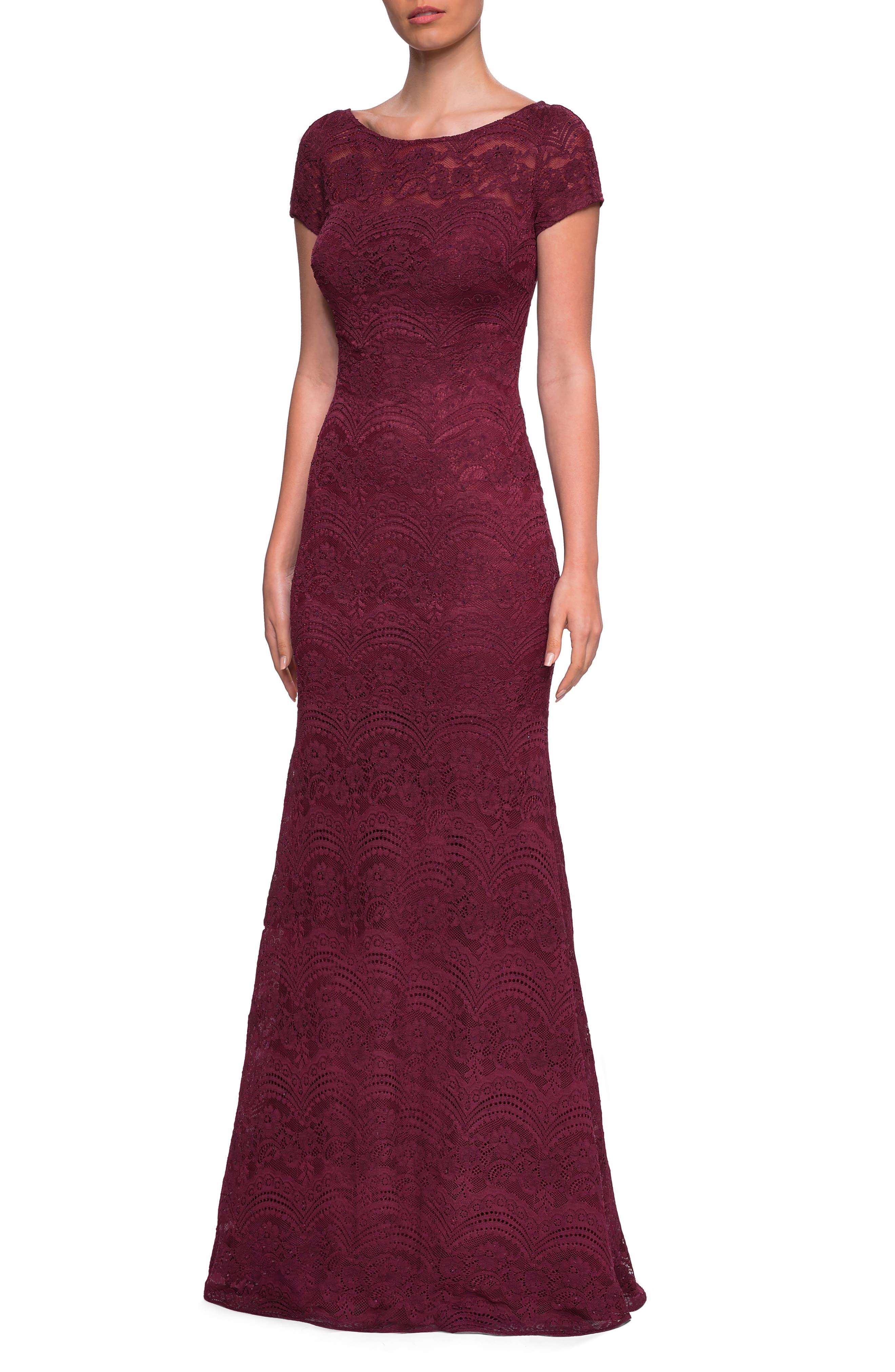 La Femme Lace Trumpet Gown, Red