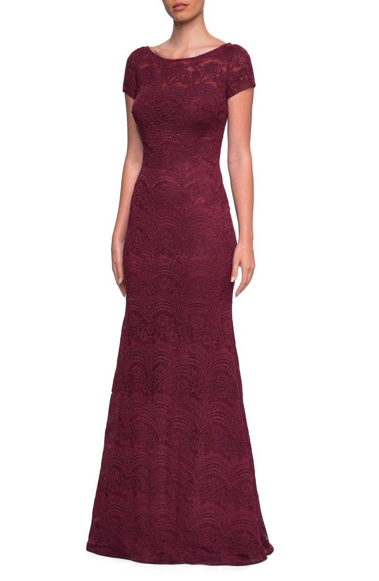 LA FEMME Lace Trumpet Gown, Main, color, GARNET