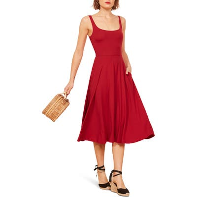 Reformation Rou Midi Fit & Flare Dress, Red