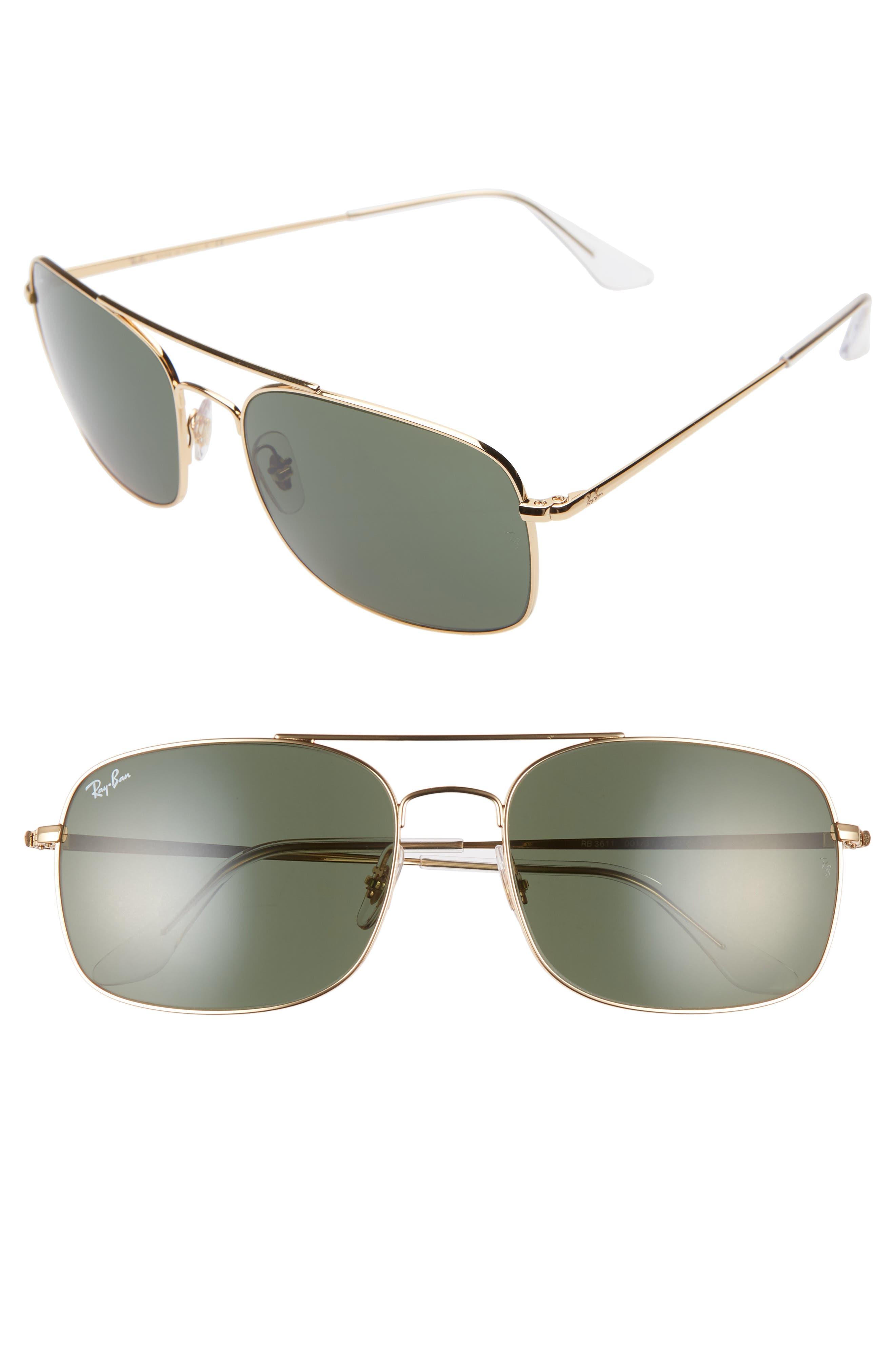 Ray-Ban 60Mm Aviator Sunglasses - Gold/ Green Solid