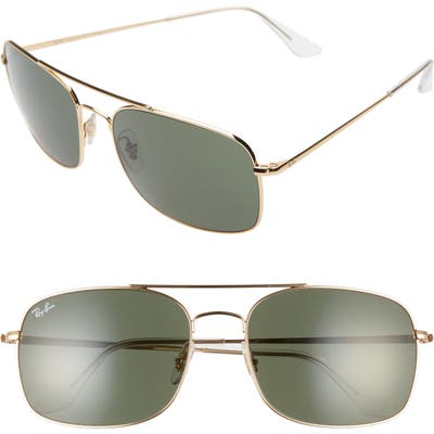 Ray-Ban 60Mm Aviator Sunglasses - Gold/ Green Solid
