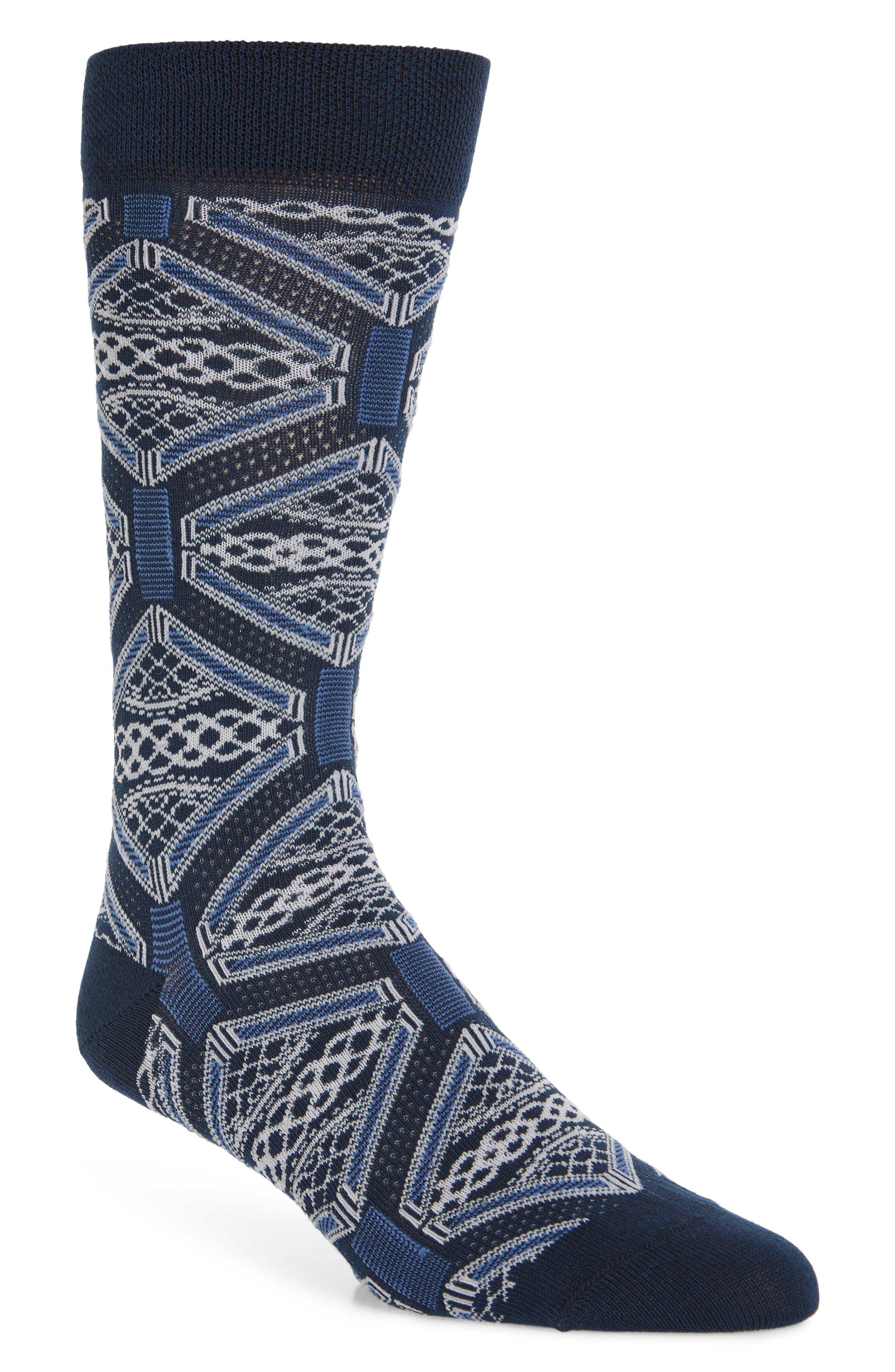 Penster Geometric Socks, Main, color, NAVY