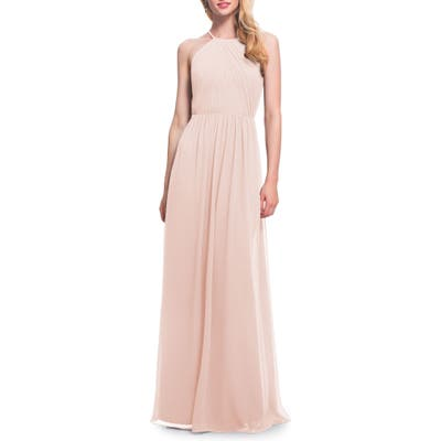 #levkoff Open Back Halter Neck Chiffon Gown, Pink