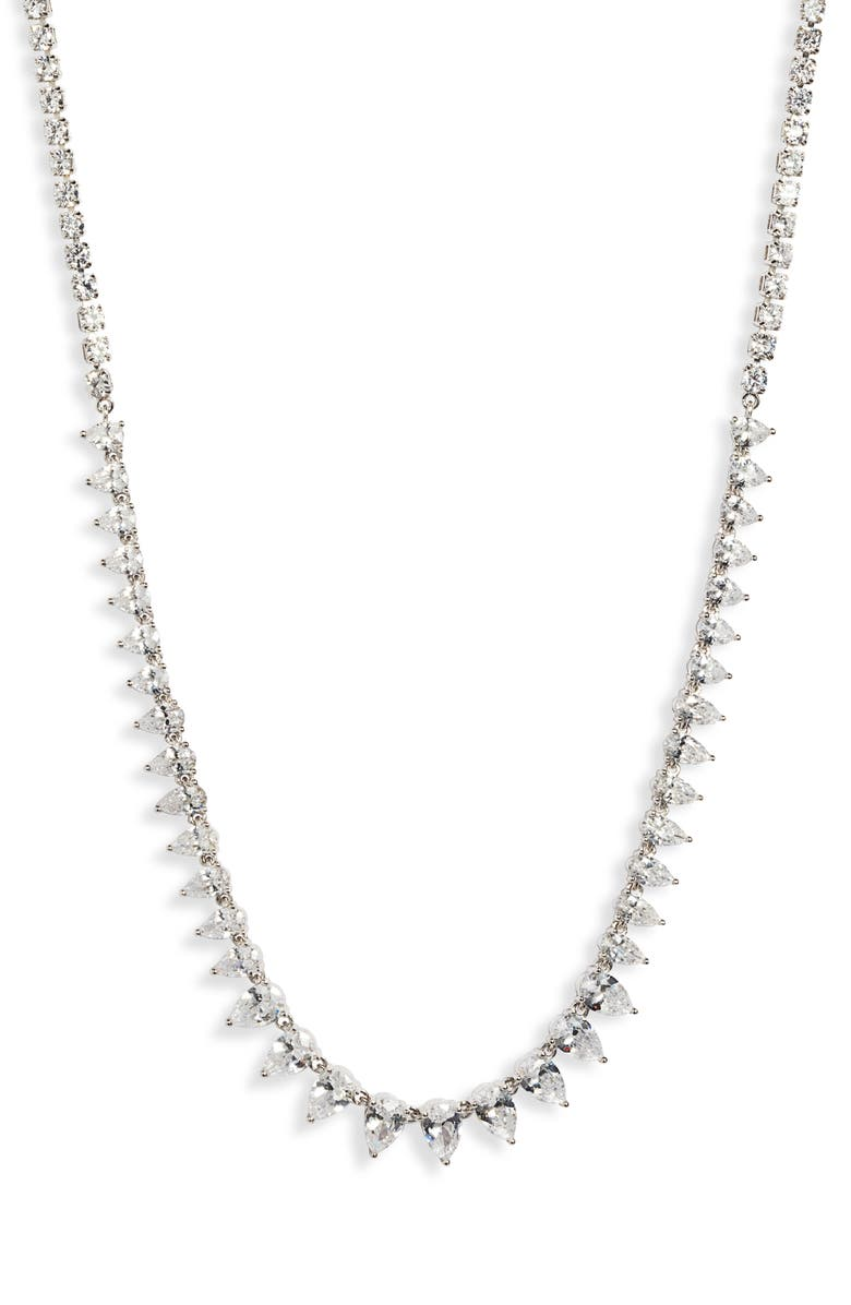 NORDSTROM Graduated Pear Collar Necklace, Main, color, CLEAR- SILVER