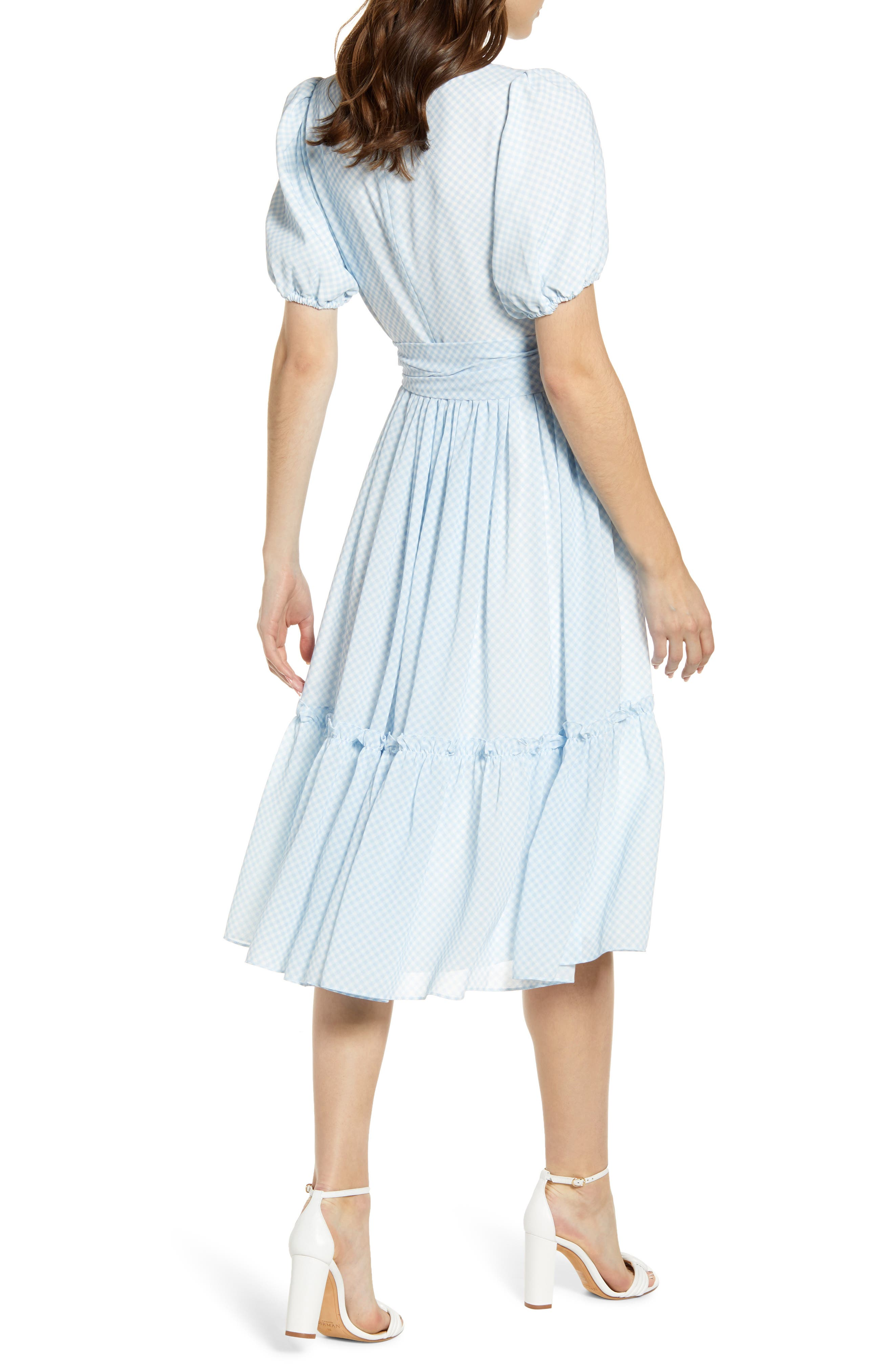 ,                             Gingham Puff Sleeve Dress,                             Alternate thumbnail 2, color,                             BLUE SKYWAY GINGHAM