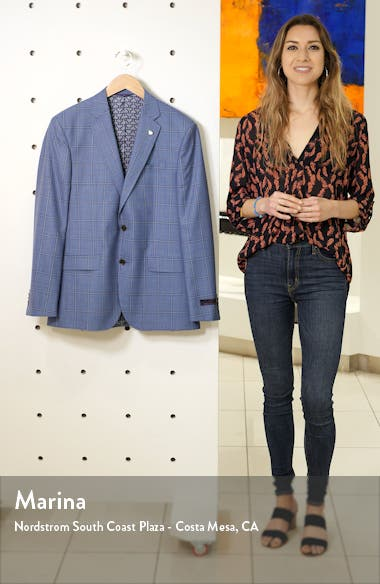 Jay Trim Fit Windowpane Check Wool Sport Coat, sales video thumbnail