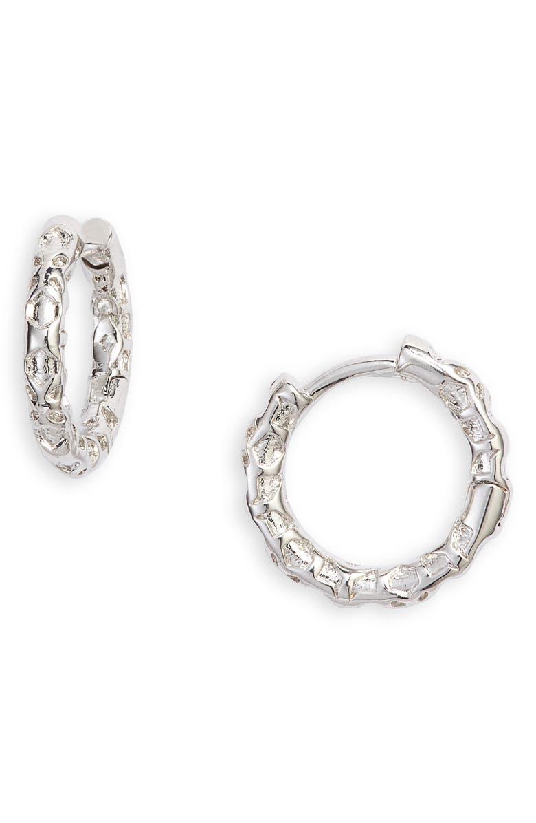 KENDRA SCOTT Maggie Huggie Earrings, Main, color, RHODIUM FILIGREE