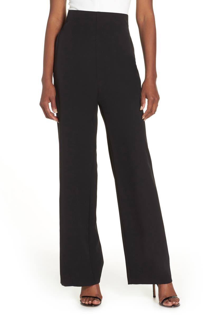 ELIZA J High Waist Straight Leg Pants, Main, color, BLACK