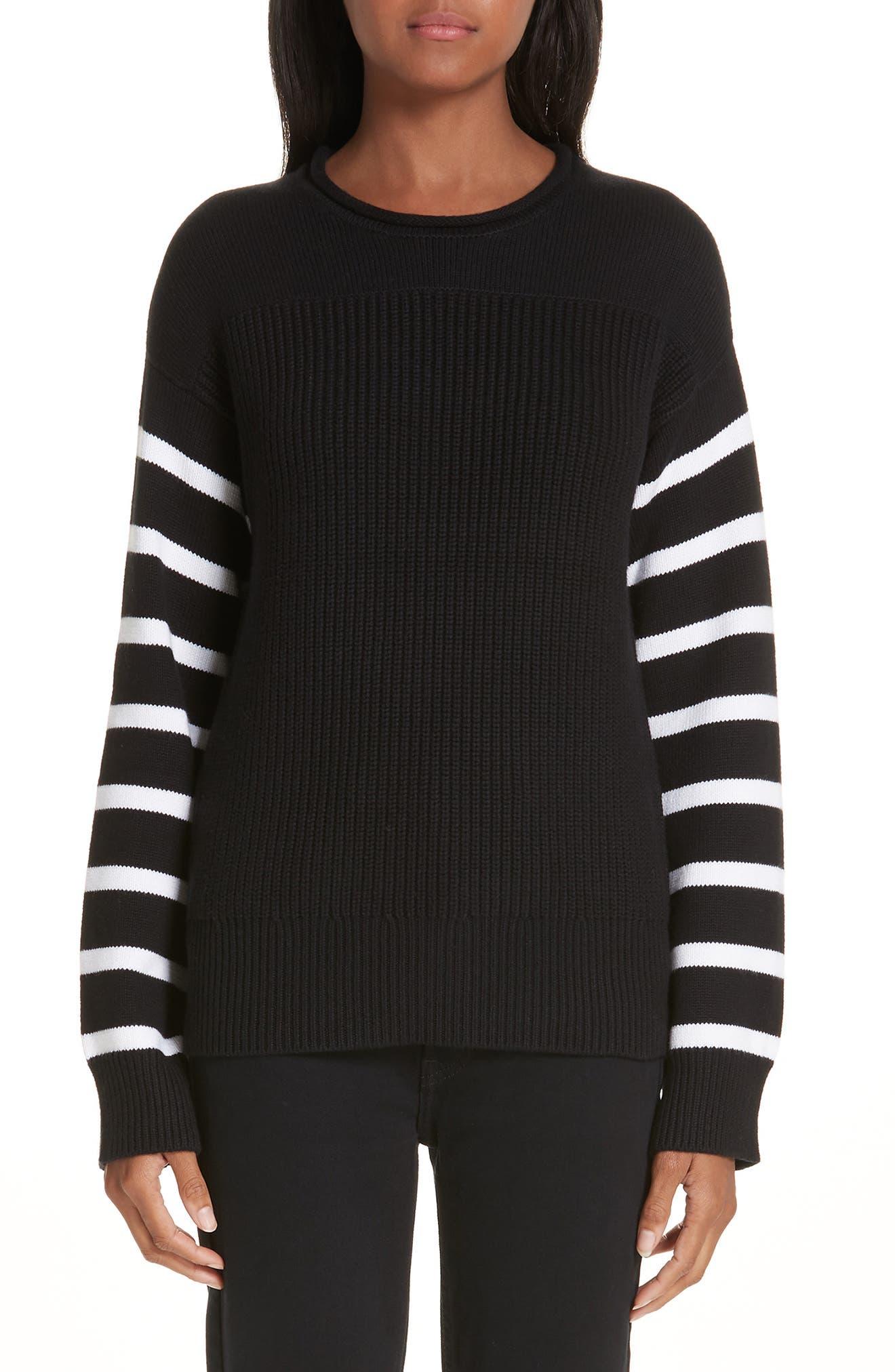 ,                             Stripe Sleeve Cotton Sweater,                             Main thumbnail 1, color,                             BLACK