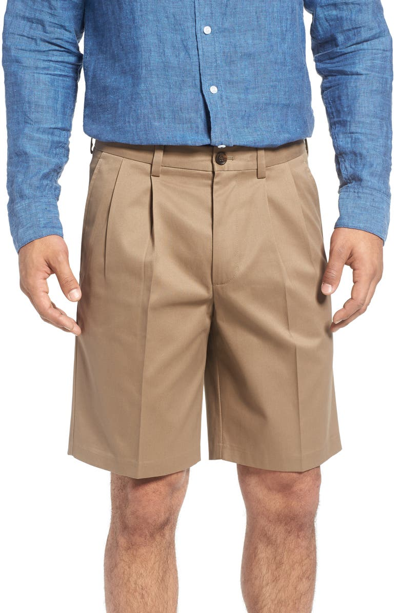 NORDSTROM MEN'S SHOP Smartcare<sup>™</sup> Pleated Shorts, Main, color, TAUPE