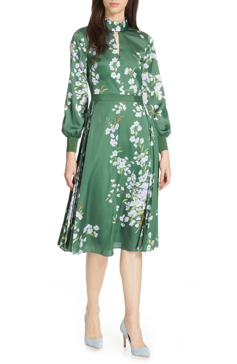 TED BAKER LONDON Jhenni Graceful Satin A-Line Dress, Main, color, 311