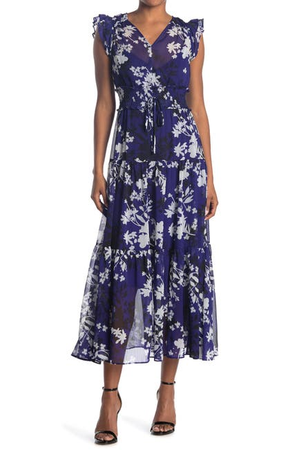 Image of Calvin Klein Floral Ruffled Chiffon Maxi Dress