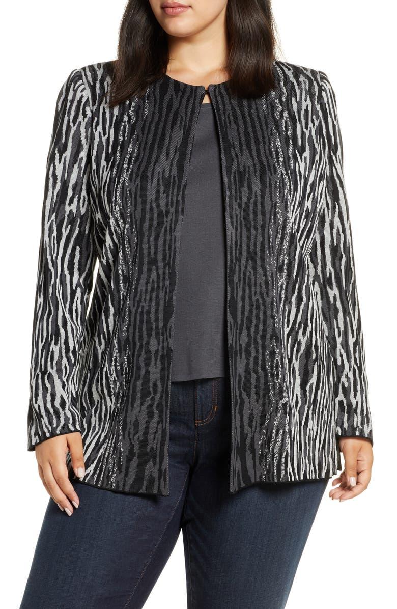 MING WANG Animal Knit Jacket, Main, color, GRANITE/ BLACK