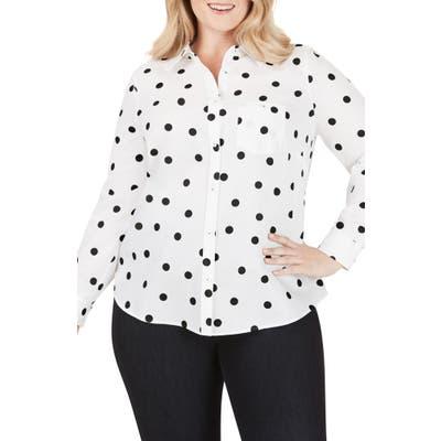 Plus Size Foxcroft The Hampton Flirty Dot Button-Up Shirt, Black