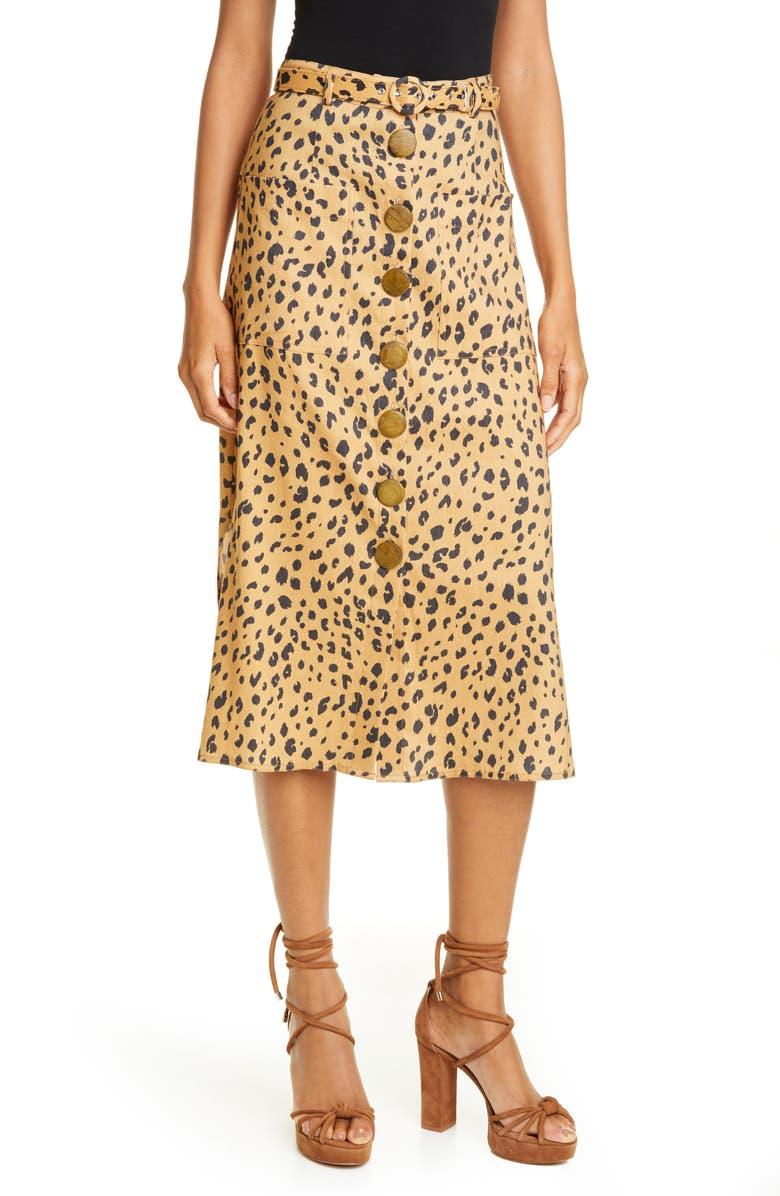 NICHOLAS Button Front Skirt, Main, color, AMBER MULTI