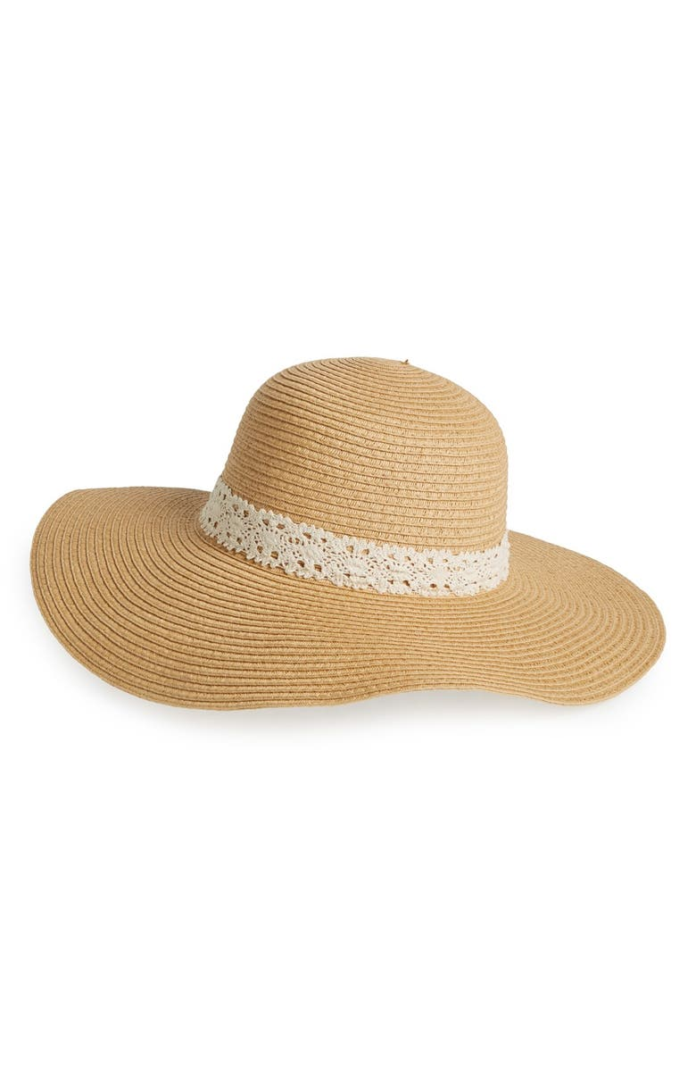 AMICI ACCESSORIES Crochet Band Floppy Straw Hat, Main, color, 250
