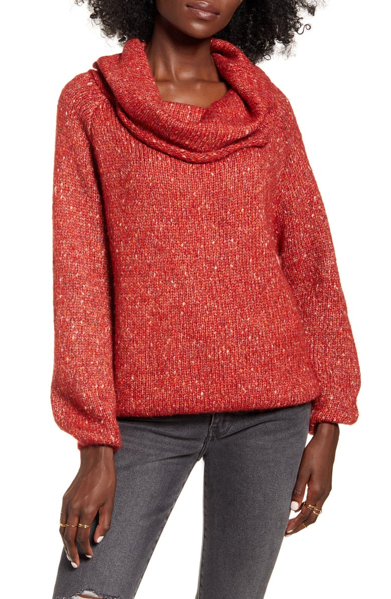 DREAMERS BY DEBUT Cowl Neck Sweater, Main, color, RED