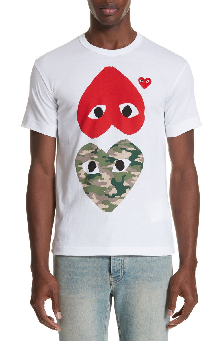 COMME DES GARÇONS PLAY Camo Double Heart T-Shirt, Main, color, WHITE 1