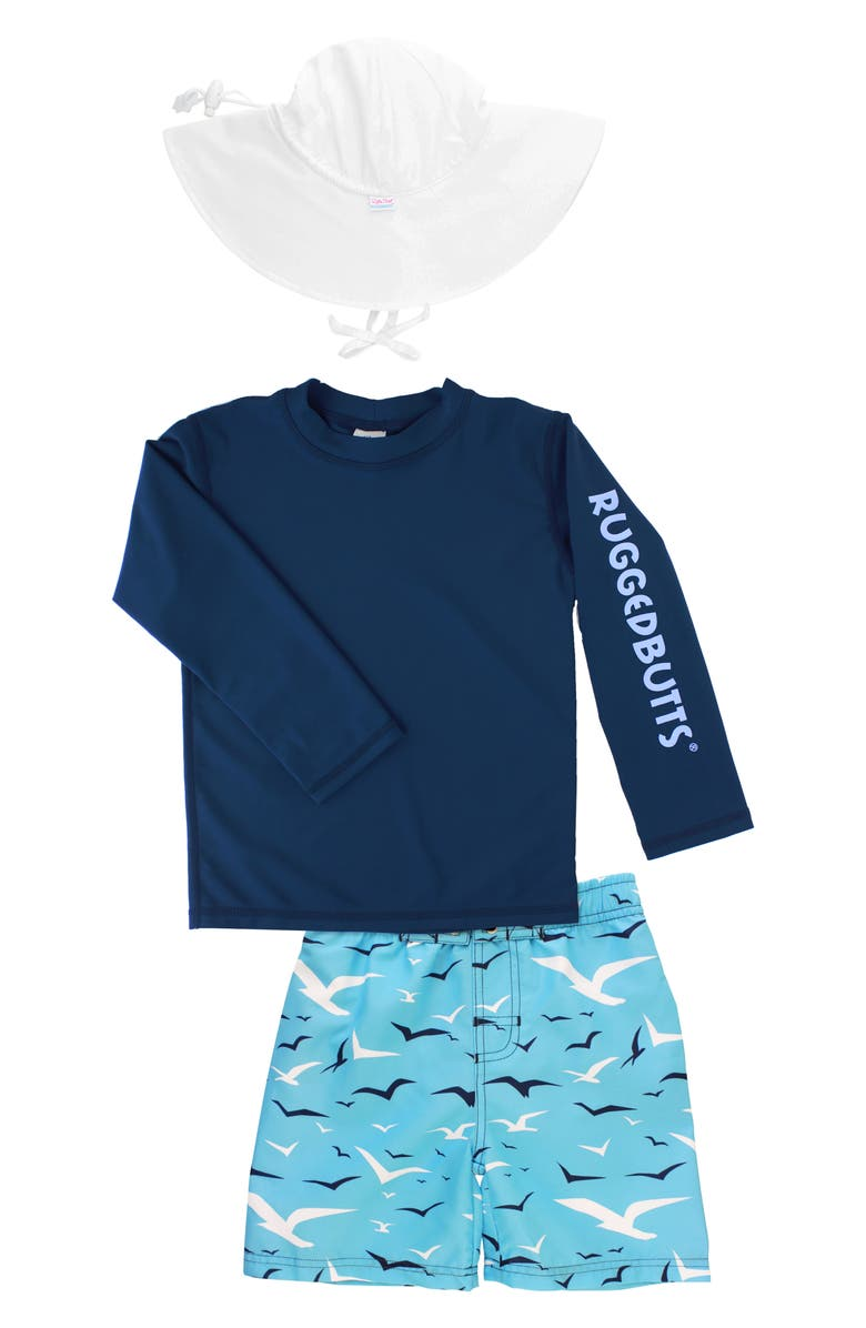 RUGGEDBUTTS Seagull Rashguard, Board Shorts & Floppy Hat Set, Main, color, BLUE