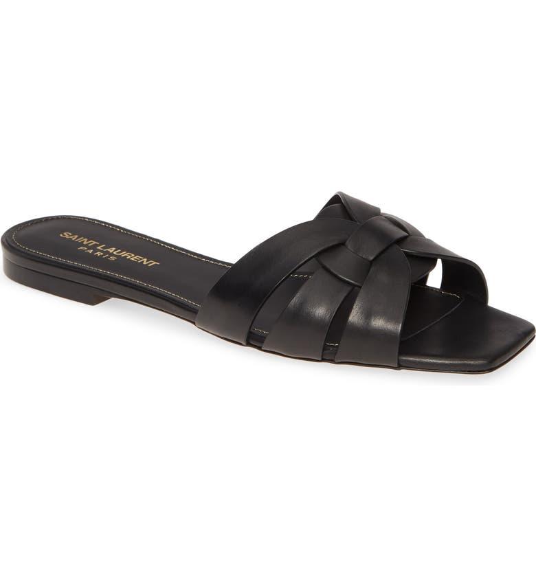 SAINT LAURENT Tribute Nu Pieds Slide Sandal, Main, color, BLACK LEATHER