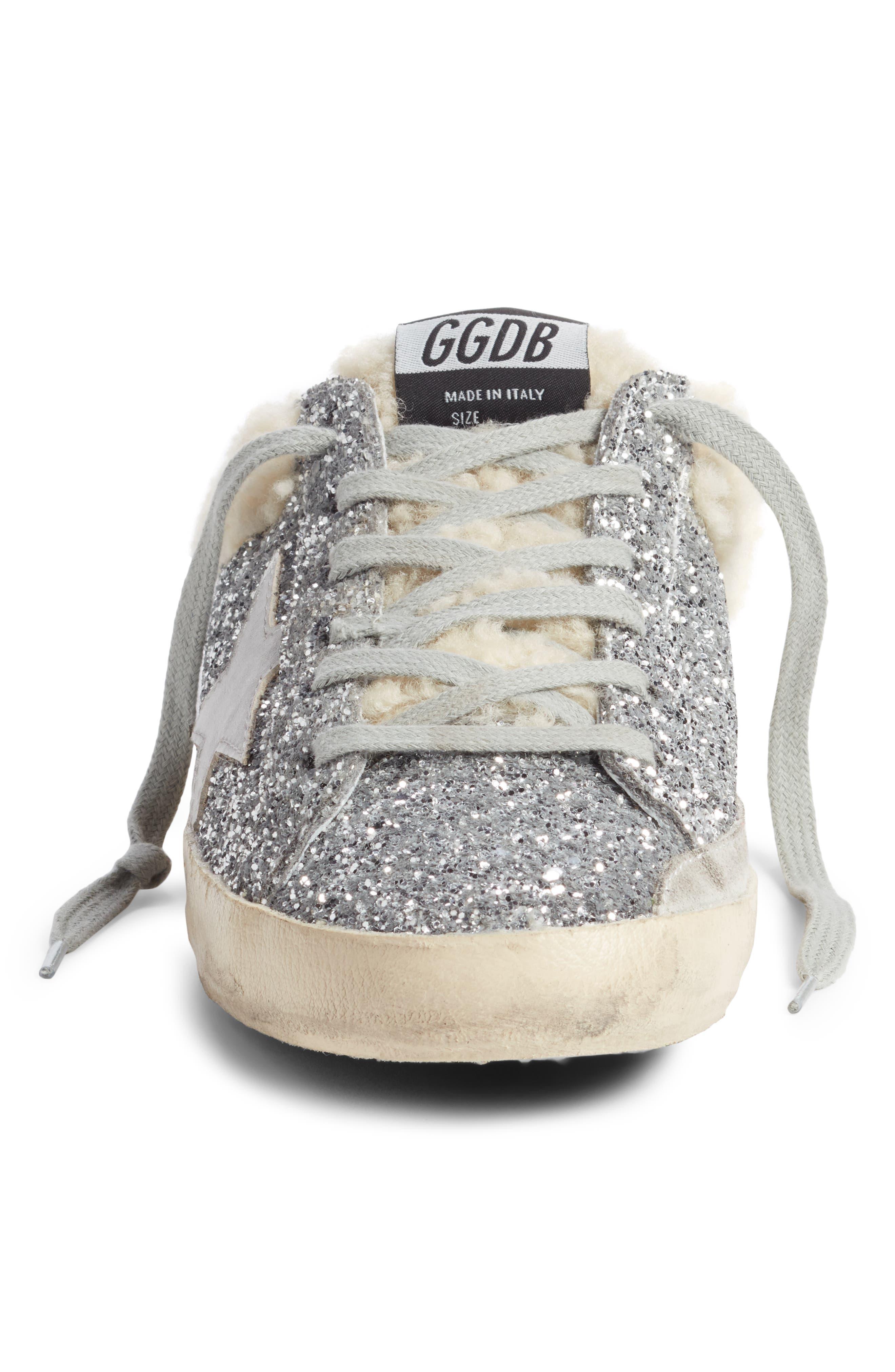 ,                             Sabot Superstar Genuine Shearling Slide Sneaker,                             Alternate thumbnail 4, color,                             SILVER/ WHITE