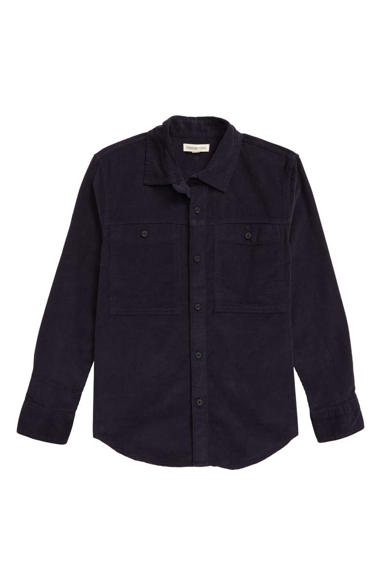 TUCKER + TATE King of the Cabins Corduroy Button-Up Shirt, Main, color, NAVY CHARCOAL