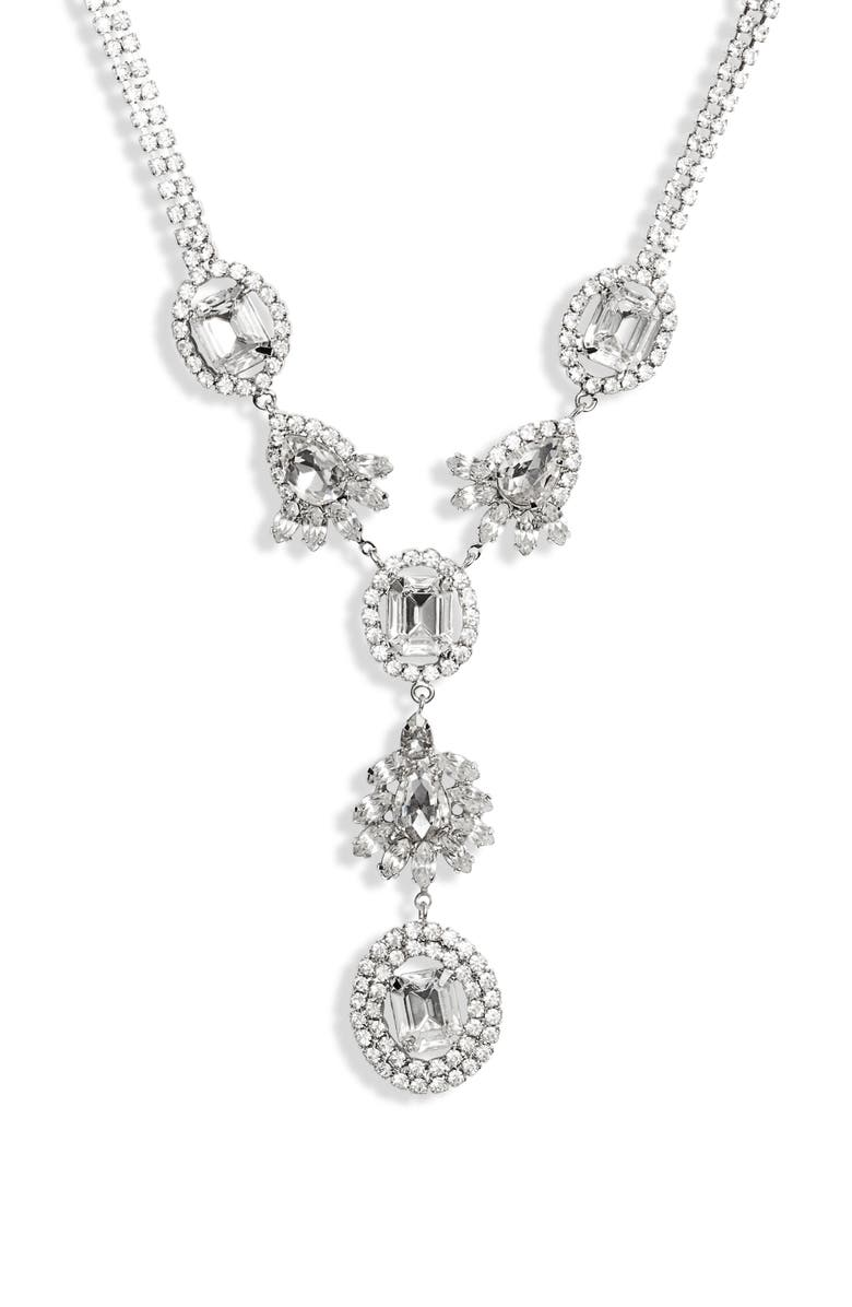 CRISTABELLE CHRISTABELLE Crystal Y-Necklace, Main, color, CRYSTAL/ SILVER
