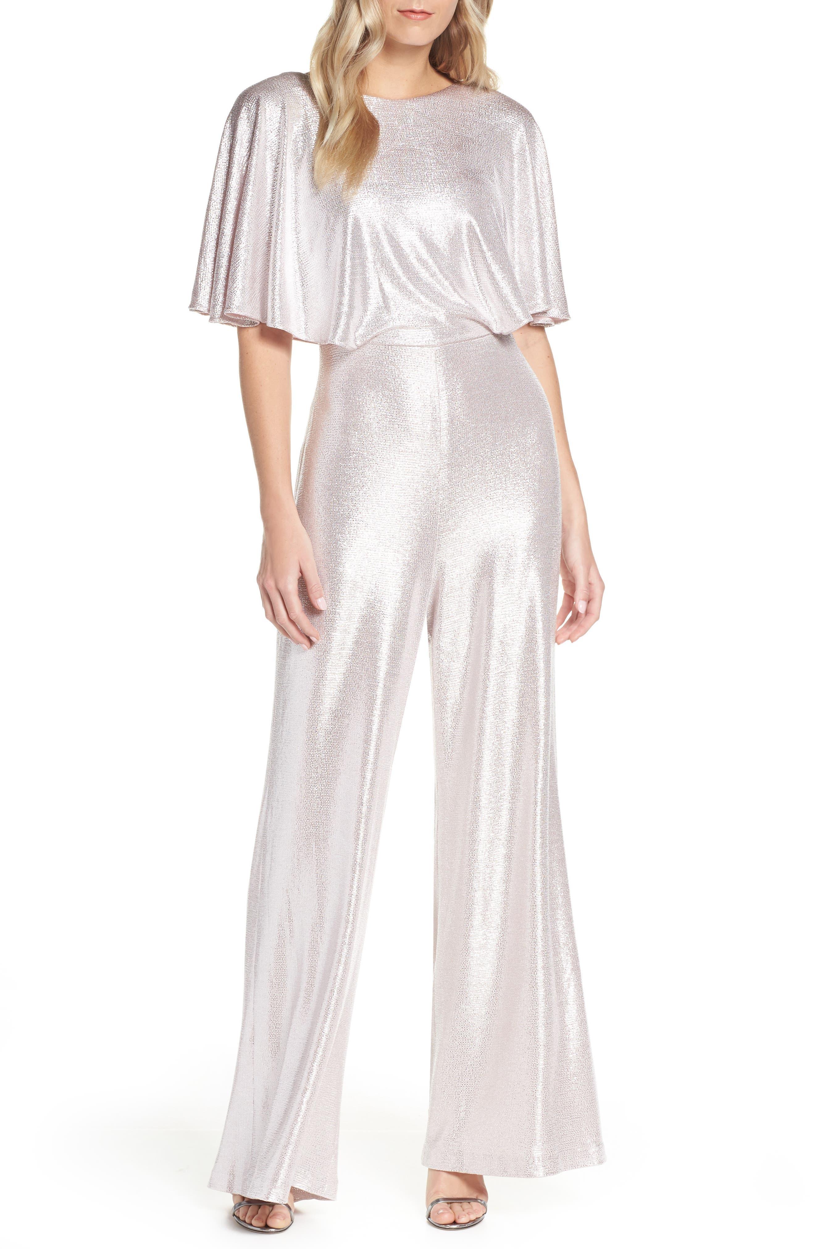 70s Dresses – Disco Dress, Hippie Dress, Wrap Dress Womens Eliza J Cape Sleeve Foiled Jumpsuit $100.80 AT vintagedancer.com