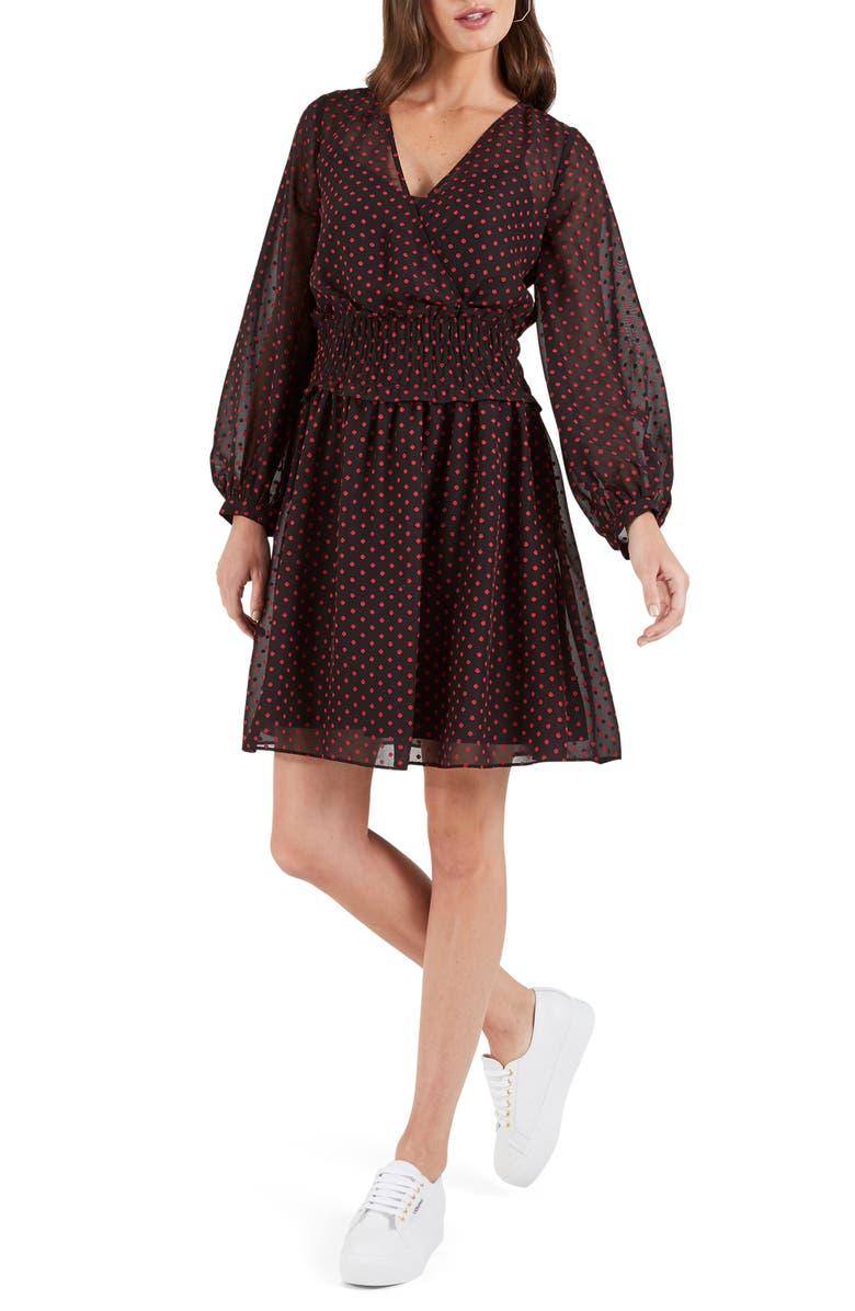 COOPER ST Gracie Long Sleeve Swiss Dot Minidress, Main, color, BLACK/ RED