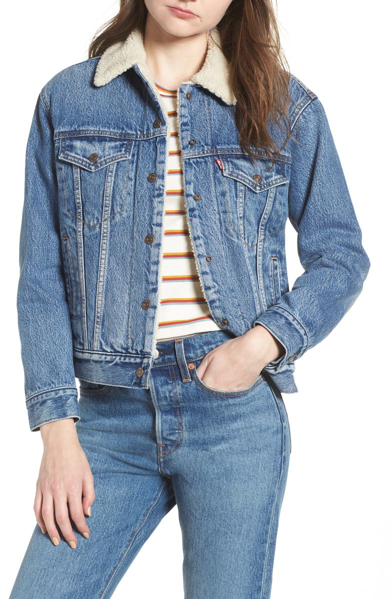 LEVI'S<SUP>®</SUP> Ex-Boyfriend Faux Fur Lined Denim Jacket, Main, color, ADDICTED TO LOVE